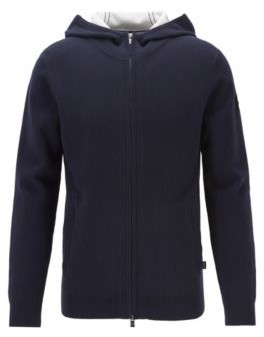 Zip-through sweater in a cotton blend with cashmere