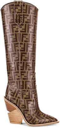 Fendi Logo Cowboy Boots in Brown | FWRD