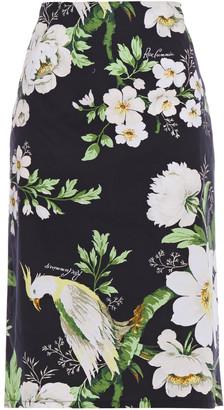 Carolina Herrera + Rose Cumming Printed Cotton-blend Pencil Skirt