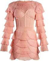 Balmain Layered ribbed mini dress