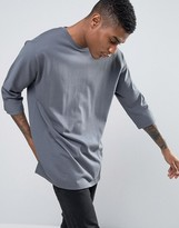 Asos Oversized Long Sleeve T-Shirt With 3/4 Raglan Sleeve In Heavyweight Jersey