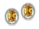 Tommaso design Studio Tommaso Design Oval 8x6mm Genuine Citrine and Diamond Earrings 14k