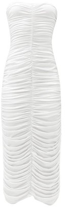 Norma Kamali Ruched Strapless Jersey Dress - White