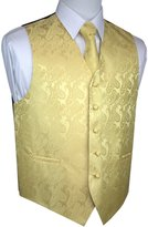 Brand Q Men's Tuxedo Vest, Tie & Pocket Square Set- Paisley-L