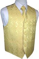 Brand Q Men's Tuxedo Vest, Tie & Pocket Square Set- Paisley-S