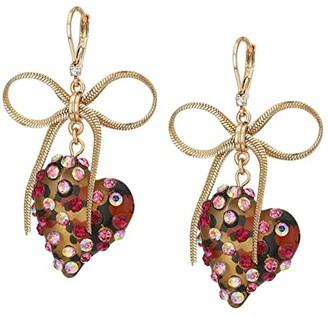 Betsey Johnson Leopard Heart Drop Earrings (Leopard) Earring