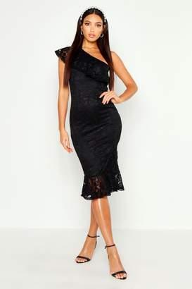 boohoo Lace One Shoulder Ruffle Midi Dress