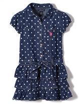 U.S. Polo Assn. Denim & White Dot Tiered Shirt Dress - Girls