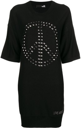 Love Moschino Knitted Embellished Sweater Dress