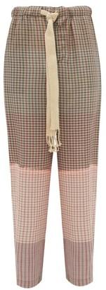 Loewe Paula's Ibiza - Checked Tie-dye Cotton Trousers - Mens - Grey