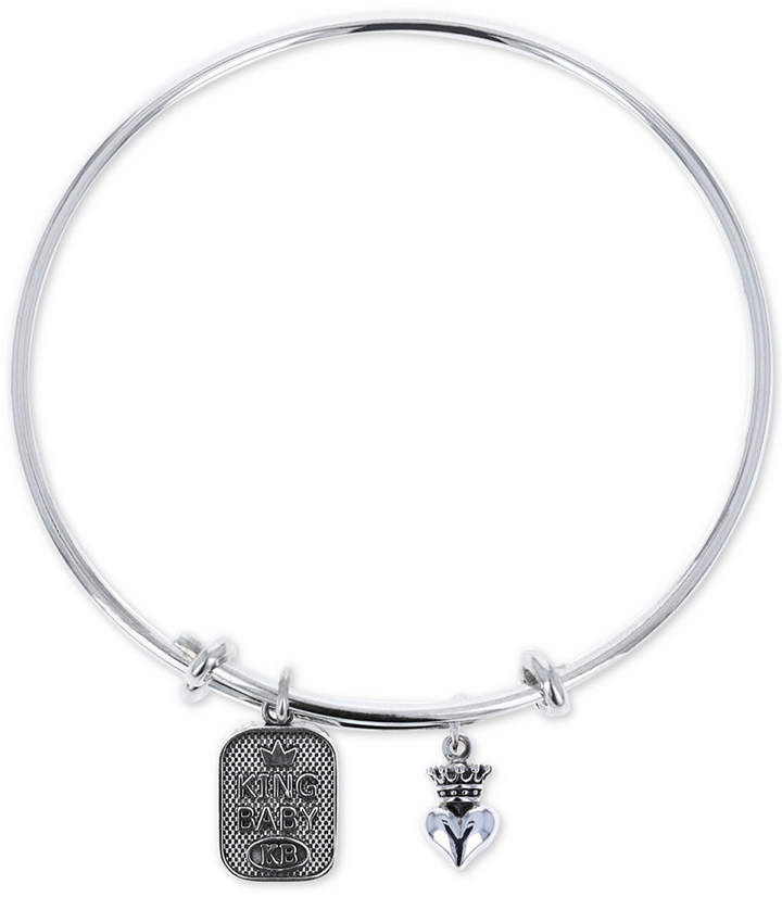 King Baby Studio Women Crown Heart & Logo Adjustable Bangle Bracelet in Sterling Silver