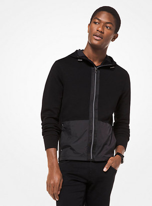 Michael Kors Mixed-Media Hooded Jacket
