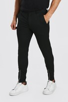 boohoo Mens Black Super Skinny Trouser With Front Ankle Zip, Black