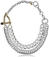 Wouters & Hendrix Women's 925 Sterling Silver and Gold Plated Statement Necklace of 43 cm