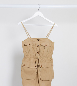 Parisian utility cami strap playsuit in stone