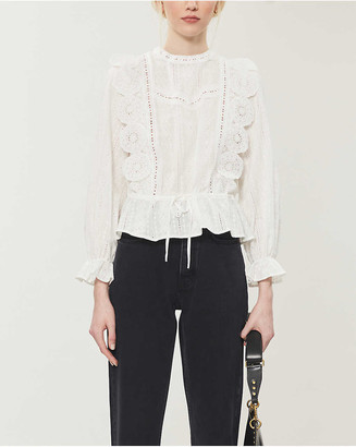 Maje Laviane broderie-anglaise cotton blouse
