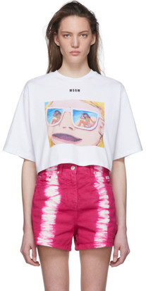 MSGM White Graphic Cropped T-Shirt