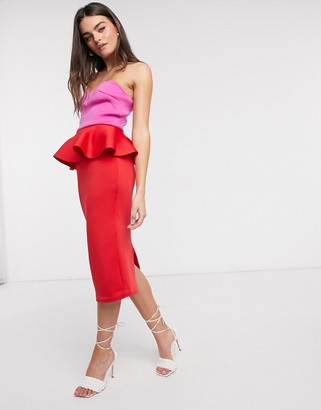True Violet bandeau peplum pencil midi dress in contrast brights