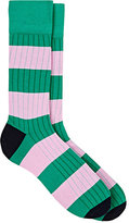 Corgi Men's Rib-Knit Block-Striped Cotton-Blend Socks