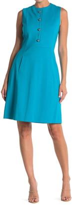 Elie Tahari Louisa Metal Button Sleeveless Dress