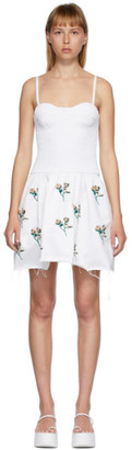 Marina Moscone White Embroidered Smocked Bustier Tunic Dress
