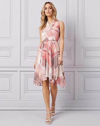 Le Château Check Print Chiffon High-Low Wrap Dress