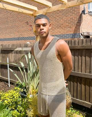 ASOS DESIGN knitted co-ord mesh vest in gold