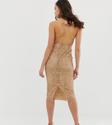 Asos Tall DESIGN Tall square neck midi pencil dress in lace