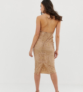 Asos Tall DESIGN Tall square neck midi pencil dress in lace-Beige