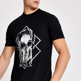 River Island MCMLX black skull printed slim fit T-shirt