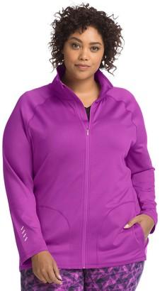 Just My Size Active Front Zip Mock-Neck Jacket