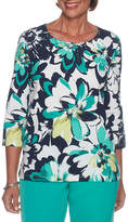 Alfred Dunner Montego Bay 3/4 Sleeve Crew Neck Floral T-Shirt-Womens