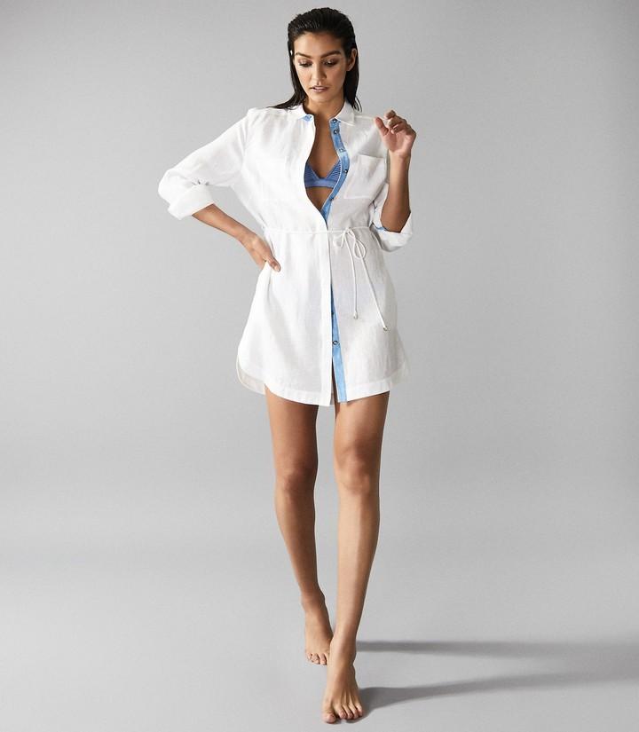 Reiss Sicily - Linen Shirt Dress in White