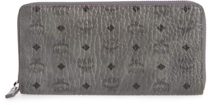 MCM Visetos Original Zip Around Coated Canvas Wallet