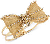 Betsey Johnson Gold-Tone Crystal Mesh Bow Hinged Bangle Bracelet