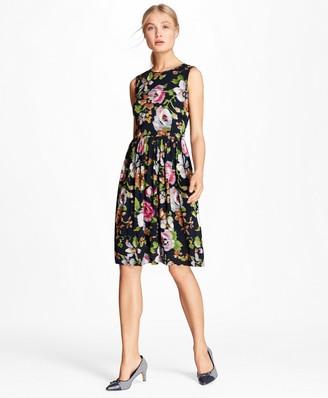 Brooks Brothers Floral-Print Georgette A-Line Dress