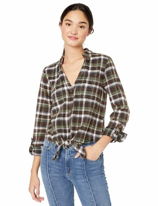 Angie Women's Acid Wash Plaid Top with Front Tie