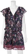 Amy Byer A. Byer Juniors Short Sleeve Printed Wrap Front Romper, Pat c, L
