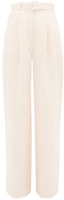 Zimmermann High-rise Linen Wide-leg Trousers - Light Pink