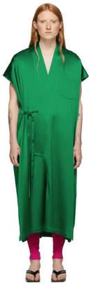 Balenciaga Green Satin Kimono Dress