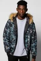 boohoo Faux Fur Hooded Camo Jacket navy