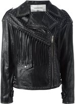 Valentino studded biker jacket - women - Silk/Cotton/Sheep Skin/Shearling - 42