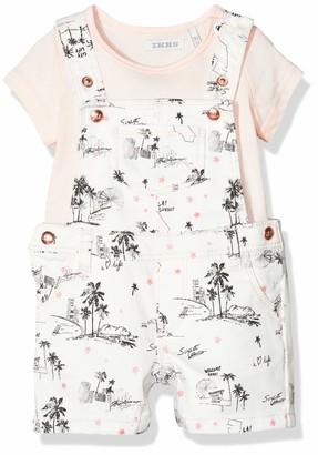 Ikks Junior Baby Girls' Ensemble Salopette Palmier Et T-Shirt Rose Dungarees