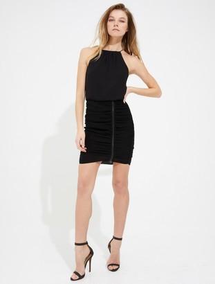 Halston Ruched skirt zipper detail cami dress