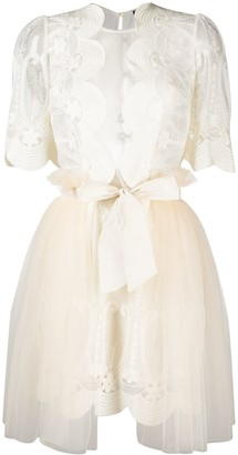 Elisabetta Franchi Lace-Patterned Semi-Sheer Tulle Dress