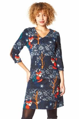 Roman Originals Womens Fox Animal Print Shift Dress - Ladies Autumn Winter Stretchy Comfy 3/4 Length Long Sleeve Work Dress Office Everyday Tea Casual Knee Length Dresses - Blue - Size 16