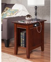 Atlantic Nantucket Chair Side Table with Charger Walnut