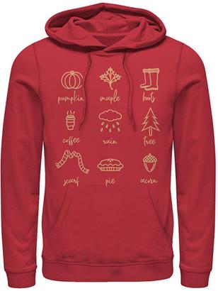 Fifth Sun Sweatshirts and Hoodies RED - Red Fall Icons Kangaroo-Pocket Hoodie - Adult