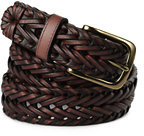 Lands' End Men's Dress Braid Belt-Brown