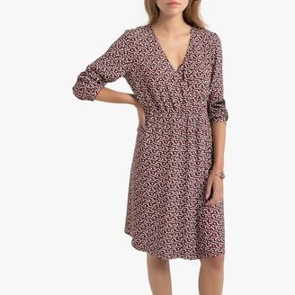 Vero Moda Flared Knee-Length Dress in Floral Print with V-Neck
